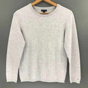 Tommy Hilfiger Womens Crewneck Gray Sweater, Large